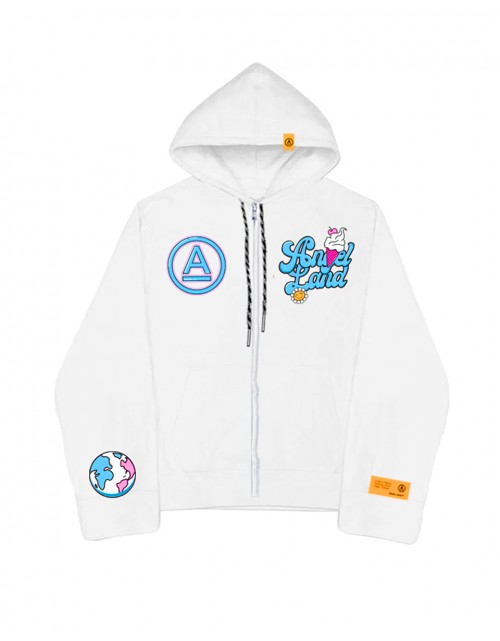 ICECREAM A-LOGO ZIP HOODIE- WHITE