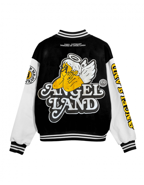 ANGEL-BABY VARSITY JACKET - BLACK