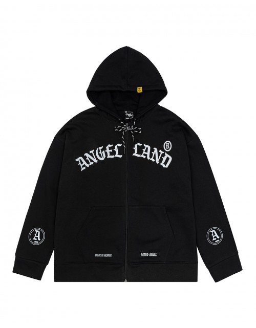 RETRO-ANGEL ZIP HOODIE BLACK