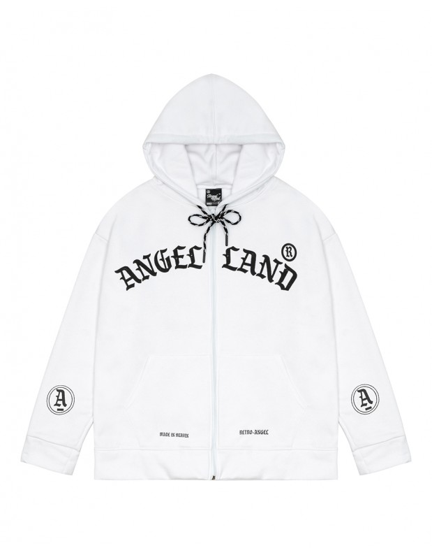 RETRO-ANGEL ZIP HOODIE WHITE